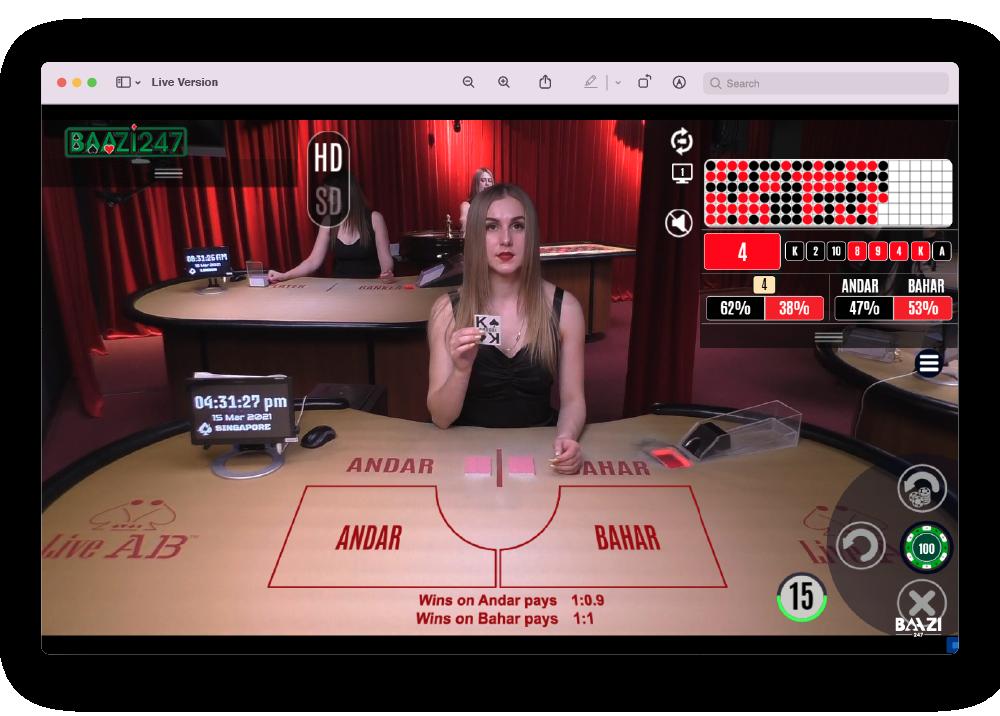 Live Andar Bahar Screen